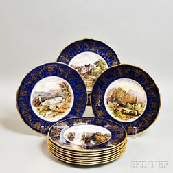 Set of Ten Cauldon Transfer-decorated Cobalt and Gilt Plates